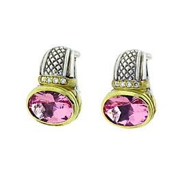 Judith Ripka 18K Yellow Gold And Silver Diamond & Pink Crystal Earrings