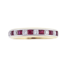 Tiffany & Co. Lucida 18k Yellow Gold and Platinum 0.49 Ct Ruby and 0.30 Ct Diamond Band Ring Size 6.5