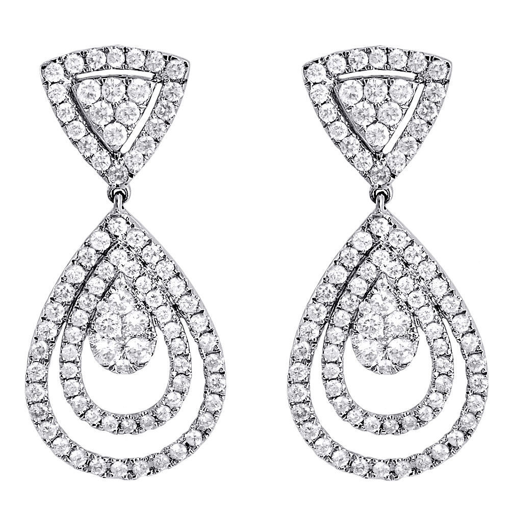 """Image of """"14K White Gold with 2.54ct Diamond Teardrop Round Pave Danglers"""""""