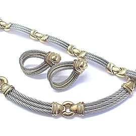 Philippe Charriol 18K Yellow Gold & Stainless Steel Necklace Bracelet Earrings