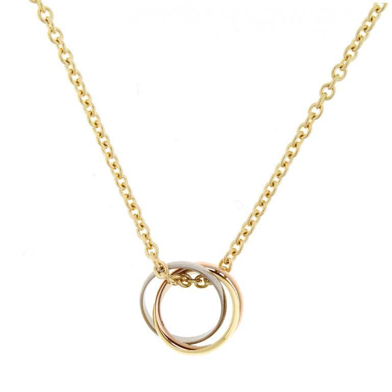 "Image of ""Cartier Trinity De 18K Yellow White Rose Gold Small Pendant Necklace"""