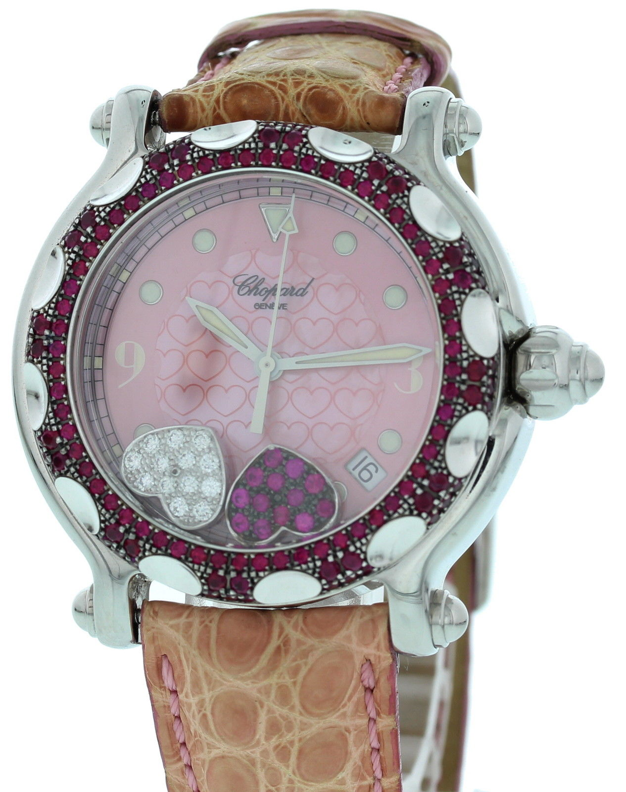 """Image of """"Chopard Happy Sport 28/8944-21 Stainless Steel & Leather Diamond &"""""""