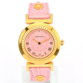 Versace P5Q80D Gold Plated & Leather 35mm Womens Watch