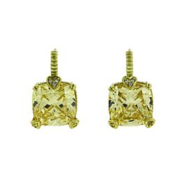 Judith Ripka 18K Yellow Gold 0.06 Ct Diamond & Canary Crystal Earrings