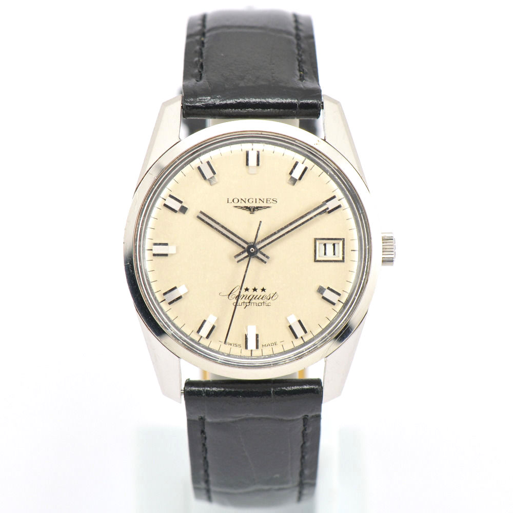 """Image of """"Longines Conquest Stainless Steel & Leather 33mm Mens Watch"""""""