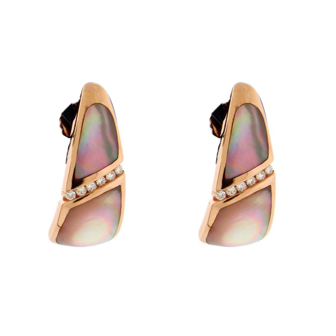 "Image of ""Kabana 14K Rose Gold with 0.18ct Diamond, Mother Of Pearl Earrings"""