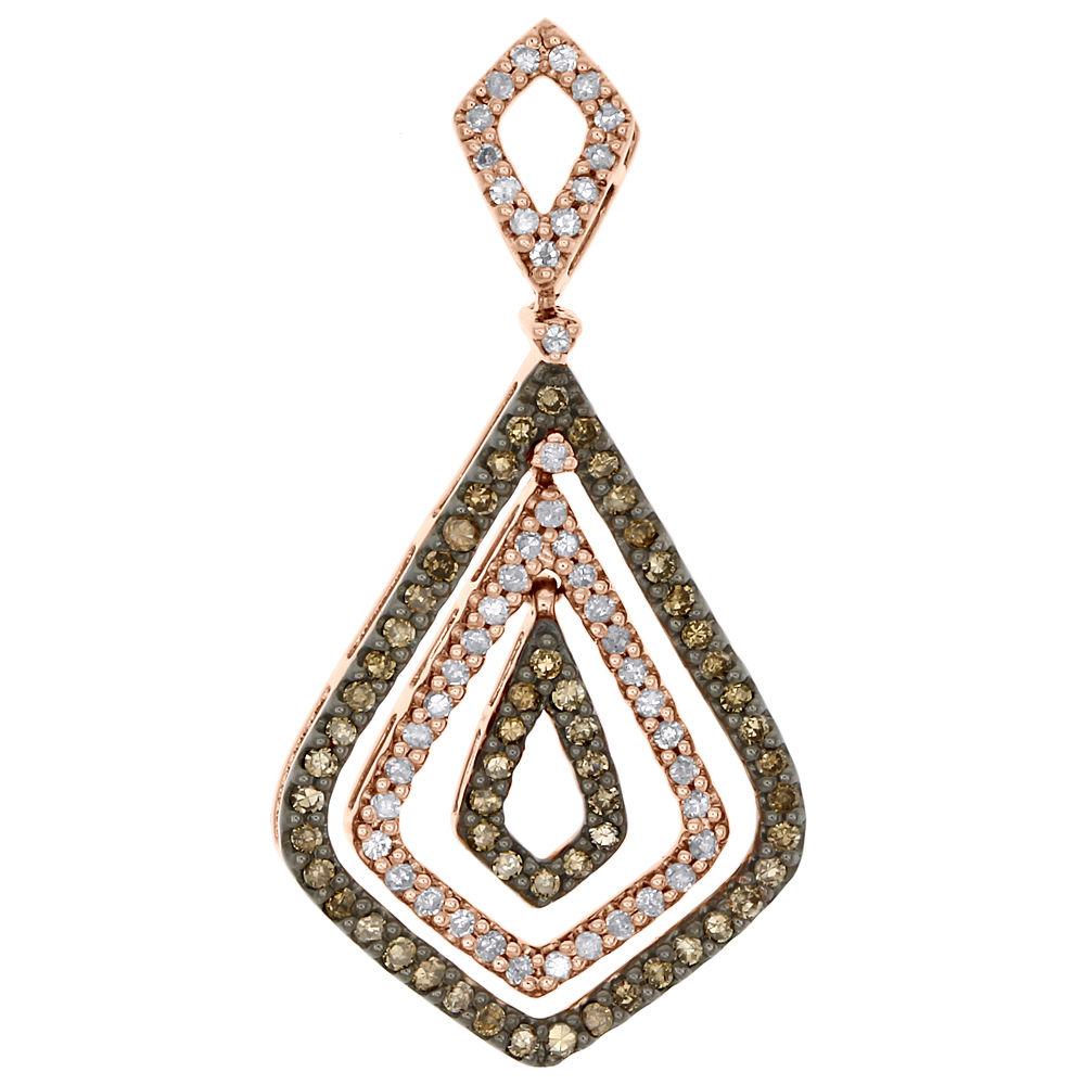 "Image of ""10K Rose Gold 0.50ct Brown Diamond Triple Teardrop Chandelier Pendant"""