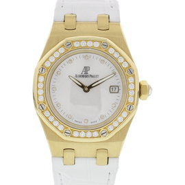 Audemars Piguet Royal Oak 18K Yellow Gold & Leather with Diamonds White Dial Quartz 33mm Womens Watch