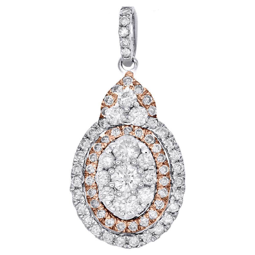"Image of ""14k Two-Tone Gold 0.88ct Diamond Tiered Oval Cluster Pendant"""