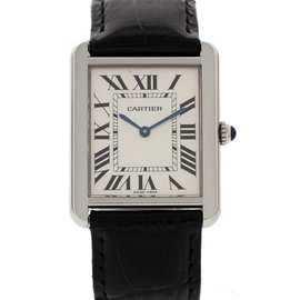 Cartier Tank Solo 2715 Stainless Steel & Leather Quartz 27mm Unisex Watch