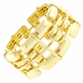 Tiffany & Co. 18K Yellow Gold Wide Square Windowpane Bracelet