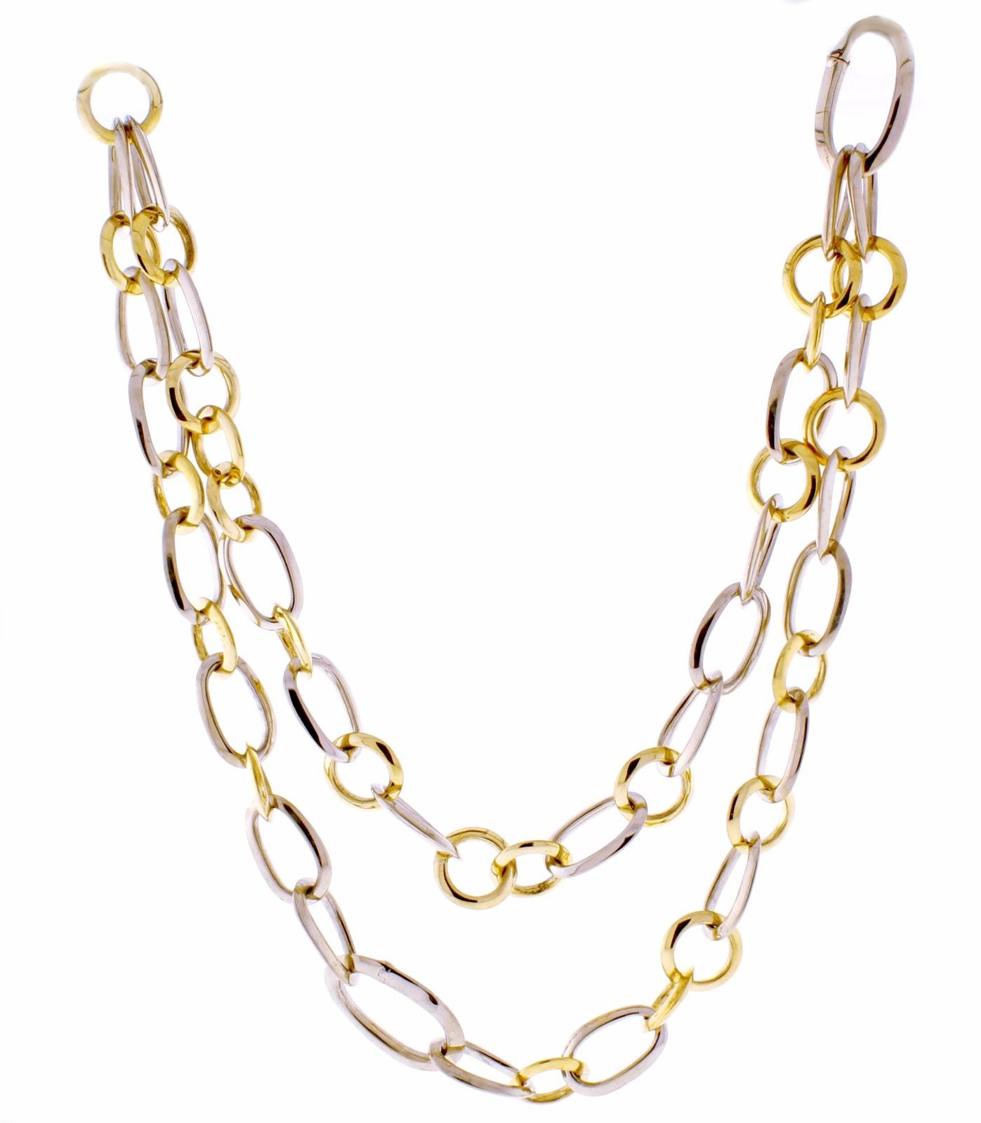 """""Pomellato 18K White & Yellow Gold Link Necklace Bracelet Combination"""""" 1228633"