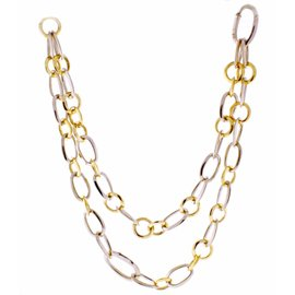 Pomellato 18K White & Yellow Gold Link Necklace Bracelet Combination