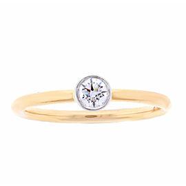 Tiffany & Co. 18K Rose Gold Band & Platinum Bezel Diamond Ring Size 6