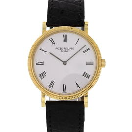 Patek Philippe Calatrava 18K Yellow Gold & Leather Strap White Dial Automatic 35mm Mens Watch