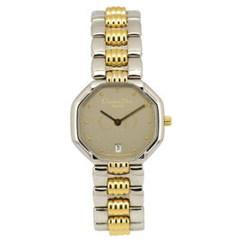 Christian Dior 48.203 Stainless Steel & Gold Plated Silver Gray Dial Date Quartz 25mm Womens Watch