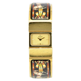 Hermes Loquet L01.201 Gold Plated & Cloisonne Gold Dial Bangle 19.5mm Womens Watch