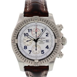 Breitling Super Avenger A13370 Chronograph Stainless Steel & Leather White Dial Automatic 48mm Mens Watch