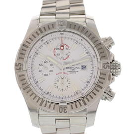 Breitling Super Avenger A13370 Chronograph Stainless Steel White Dial Automatic 48mm Mens Watch