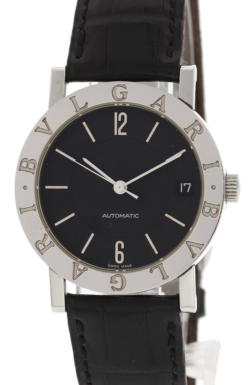 "Image of ""Bulgari Stainless Steel BB 33 SLD Stainless Steel & Leather Black Dial"""