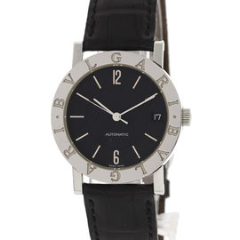 Bulgari Stainless Steel BB 33 SLD Stainless Steel & Leather Black Dial Automatic 33mm Womens Watch