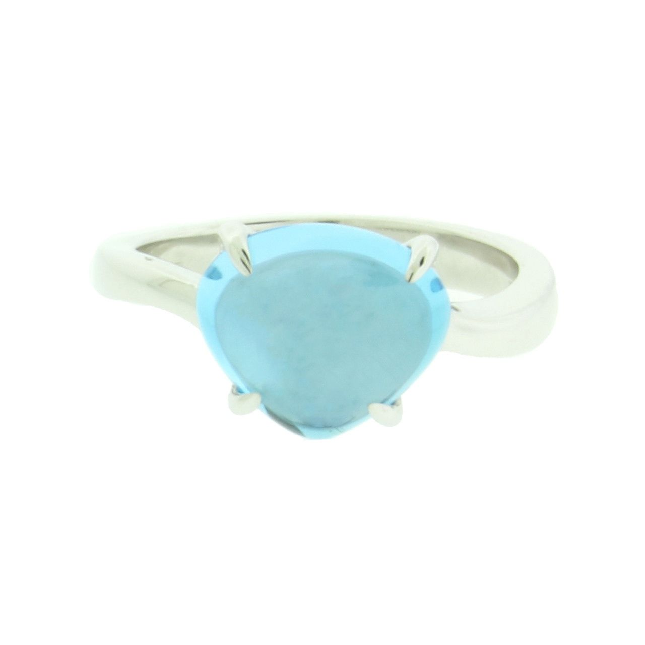 "Image of ""Bulgari 18K White Gold Blue Topaz Ring Size 6.5"""