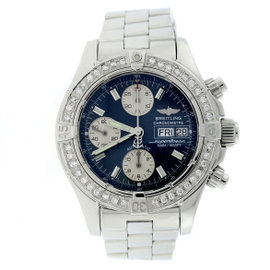 Breitling Chrono Super Ocean A13340 Day Date Concentric Dial Diamond Bezel 42mm Mens Watch