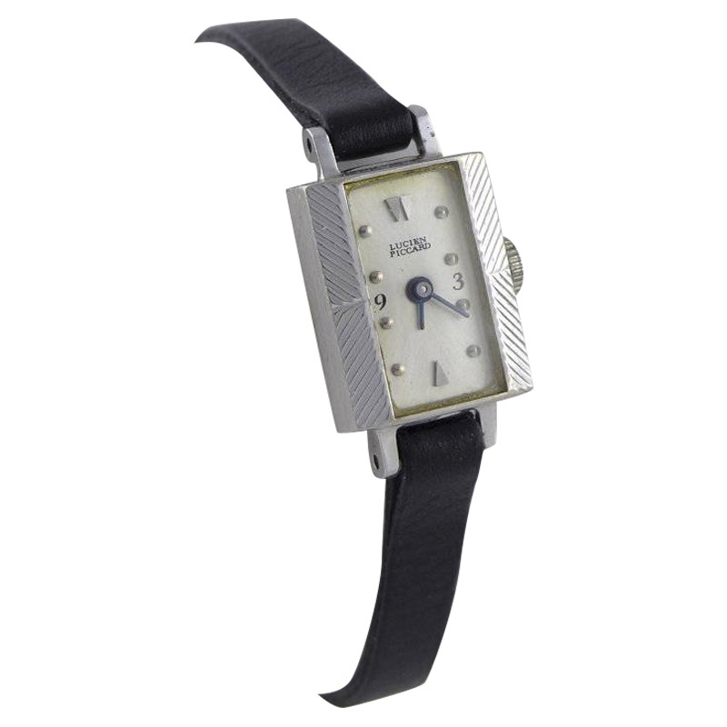"Image of ""Lucien Piccard 14K White Gold Black Leather Manual 14mm Womens Watch"""