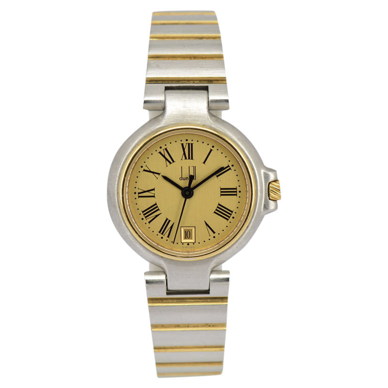 "Image of ""Dunhill Millennium Date Two-Tone Gold Plated Quartz 26mm Womens Watch"""