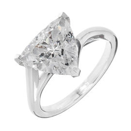 Peter Suchy 950 Platinum 3.04ct Triangle Diamond Solitaire Engagement Ring Size 6.5