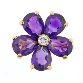 Tiffany & Co. 14K Yellow Gold Amethyst and 0.08ct Diamond Ring Size 5.25