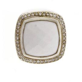 David Yurman 14K Yellow Gold White Agate & Diamond Ring Size 7