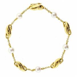 Tiffany & Co. 18K Yellow Gold Elsa Peretti Pearl Bracelet