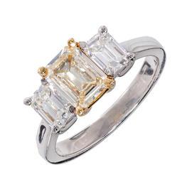 Peter Suchy 950 Platinum Yellow Diamond Emerald Cut Ring Size 6