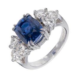 Peter Suchy 950 Platinum Diamond & Sapphire Engagement Ring Size 7.25