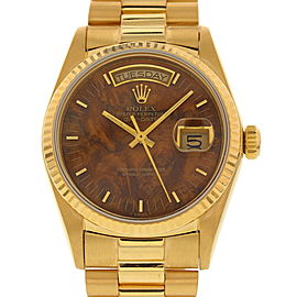 Rolex Oyster Perpetual Day-Date 18038 18K Yellow Gold Brown Dial 36mm Mens Watch