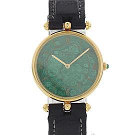 Van Cleef & Arpels H5178 18K Yelow Gold & Green Dial 27mm Womens Watch