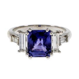 Peter Suchy 950 Platinum Diamond Violet Purple Sapphire Engagement Ring Size 6.75