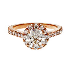 Peter Suchy 14K Pink Gold & Diamond Engagement Ring Size 6.25