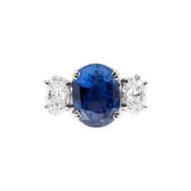 Peter Suchy 950 Platinum Diamond Oval Violet Blue Sapphire Engagement Ring Size 6.5