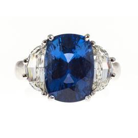 Peter Suchy 950 Platinum Cushion Ceylon Sapphire Diamond Ring Size 6