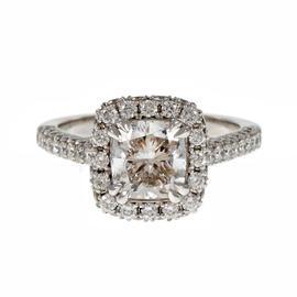 Peter Suchy Platinum & Diamond Halo Engagement Ring Size 6.5