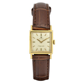 Omega Ladymatic Gold Plated / Leather with Silver Dial 18.5mm Womens Watch