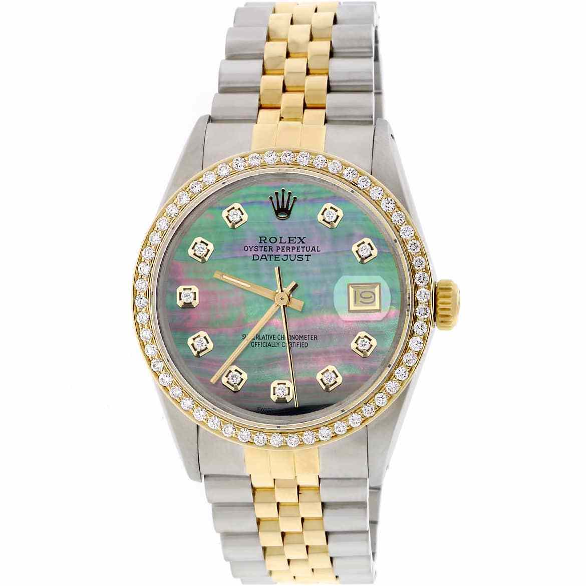 """Image of """"Rolex Datejust 18K Yellow Gold & Stainless Steel Tahitian Mother of"""""""