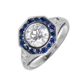 Peter Suchy Art Deco Platinum Diamond Sapphire Ring Size 6.5