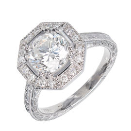 Peter Suchy Platinum Octagonal Halo Diamond Ring Size 6.5