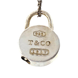 Tiffany & Co. 925 Sterling Silver 1837 Round Padlock Charm Necklace