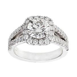 Peter Suchy Platinum Halo 1.56ct Diamond Ring Size 6.5