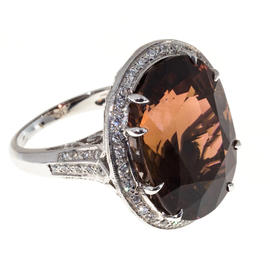 Peter Suchy 18K White Gold 26.70ct. Brown Tourmaline and 0.75ct. Diamond Ring Size 7.0
