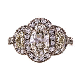 Peter Suchy Platinum 1.06ct Diamond Half Moon Triple Halo Pave Ring Size 6